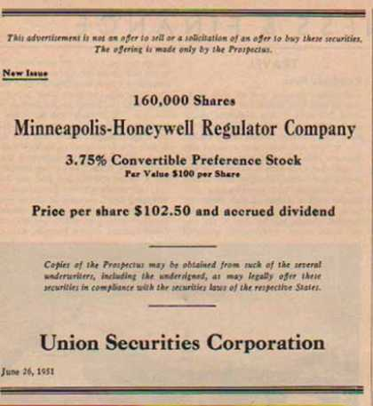 Honeywell Regulator Securities (1951)