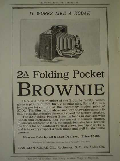 Eastman Kodak Co 2A folding Pocket Brownie AND Equitable Life Insurance Brain Fag and Carking Care (1910)
