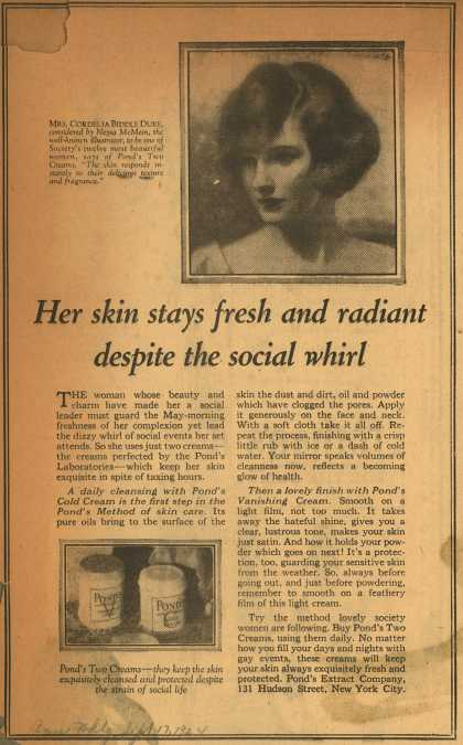 Pond's Extract Co.'s Pond's Cold Cream and Vanishing Cream – Her skin stays fresh and radiant despite the social whirl (1924)