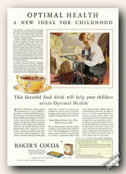 Bakers Cocoa Optimal Health Collectible Antique (1928)