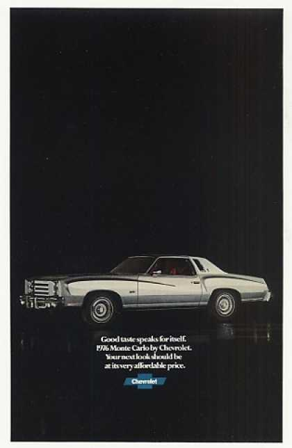 Chevy Monte Carlo Good Taste Speaks for Itself (1976)
