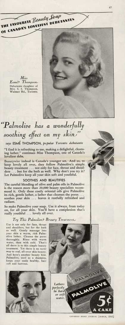 "Palmolive Company's Palmolive Soap – ""Palmolive has a wonderfully soothing effect on my skin"" (1936)"