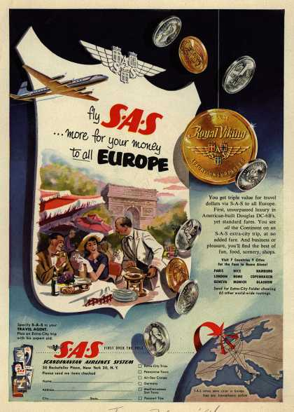 Scandinavian Airlines System&#8217;s Europe &#8211; Fly SAS ...more for your money to all Europe (1954)