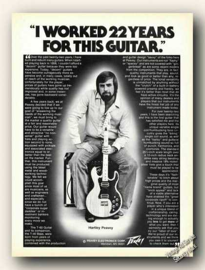 Hartley Peavey Photo Guitars Ad Rare (1980)