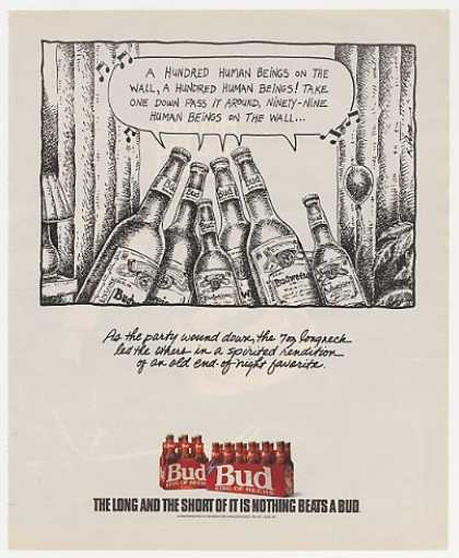 Budweiser Beer Bottles Sing Human Beings Wall (1990)