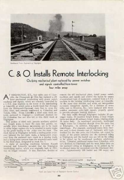 """C&o Installs Remote Interlocking"" Edgington, Ky (1936)"