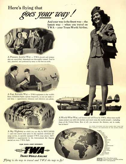 Trans World Airline's TWA airlines – Here's flying that goes your way (1947)