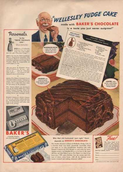 Bakers Chocolate Fudge Cake (1941)
