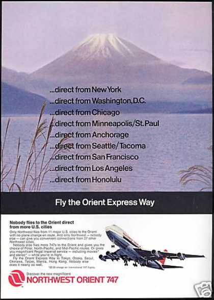 Northwest Orient Airlines 747 Mt Fuji Photo (1971)