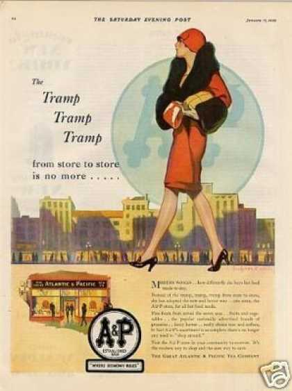 A&p Color Ad Bradshaw Crandell Art (1929)
