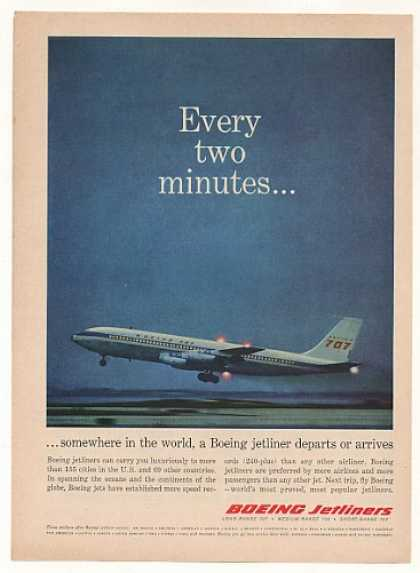 Every Two Minutes Boeing 707 Jet Departs Photo (1961)