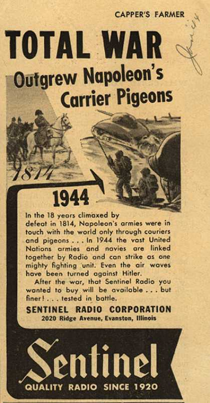 Sentinel's Radio – Total War Outgrew Napoleon's Carrier Pigeons (1944)