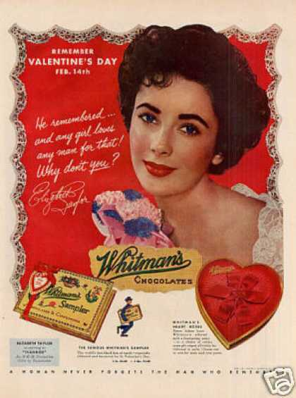 Whitman's Chocolate Candy Ad Elizabeth Taylor (1952)