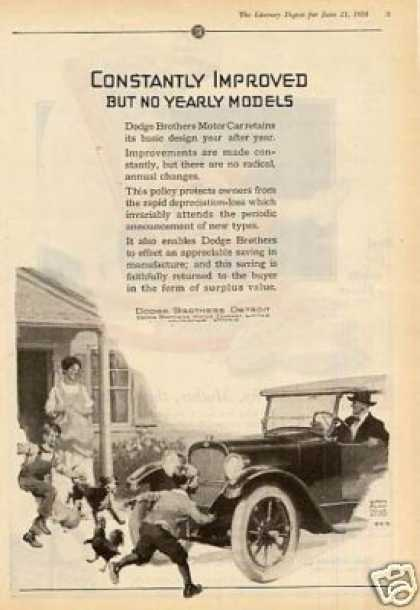 "Dodge Brothers Car Ad ""Constantly Improved... (1924)"