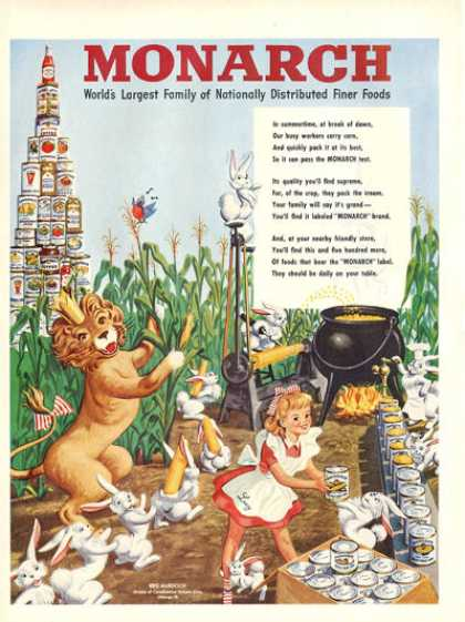 Monarch Fine Foods Lucy Line Rabbit Corn (1948)
