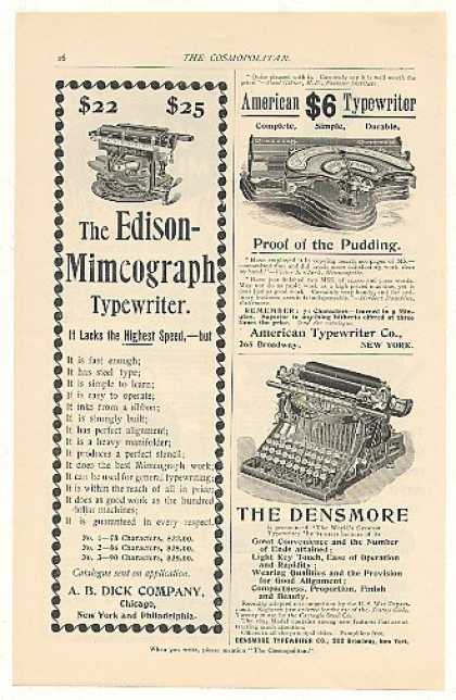 Edison Mimeograph American Densmore Typewriters (1894)