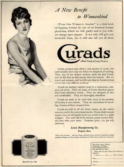 Lewis Manufacturing Company's Curads Sanitary Napkins – A New Benefit to Womankind (1920)
