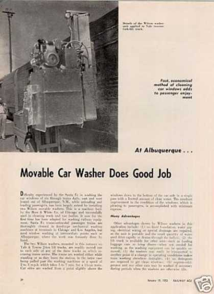"""Movable Car Washer..."" Article/atsf-al (1953)"