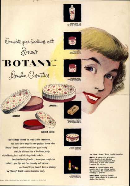 Botany Mill's Lanolin Cosmetics – Complete your loveliness with 3 new Botany Lanolin Cosmetics (1948)