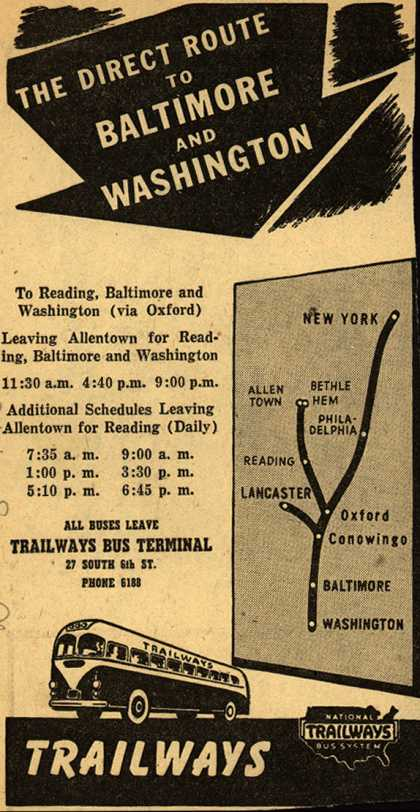 National Trailways Bus System's Baltimore, Washington – The Direct Route To Baltimore And Washington (1945)
