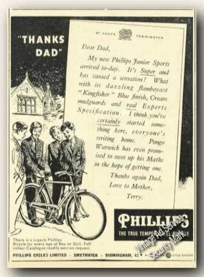 Phillips Bicyclesthanks Dad Antique Uk (1956)