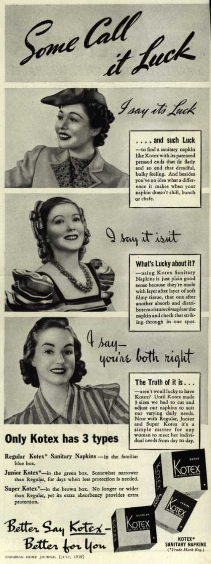 Kotex Company's Sanitary Napkins – Some Call it Luck (1939)