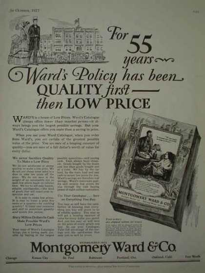 Montgomery Ward Quality first the Low Price (1927)