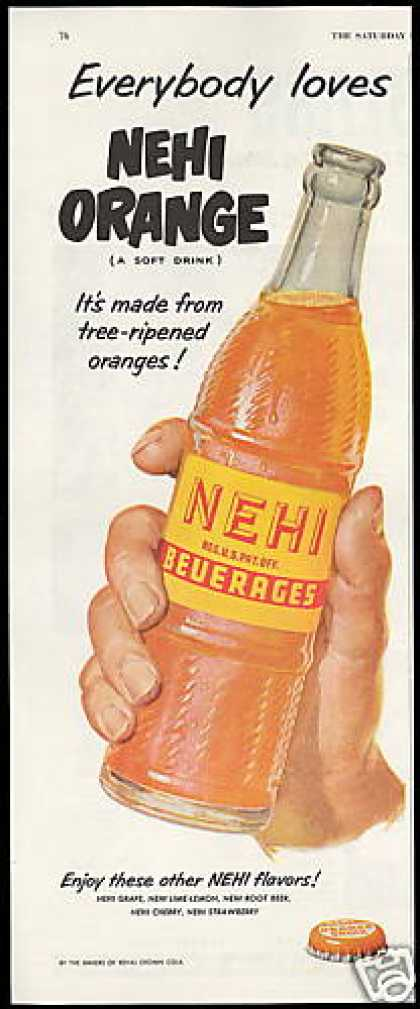 Nehi Orange Soda Pop Beverage Bottle (1952)