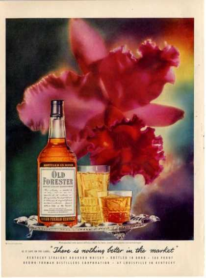 Old Forester Sarra Bottle Photography Ad T (1952)