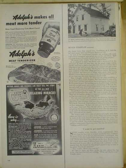 Adolphs Meat Tenderizer. Makes all meat tender (1953)