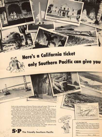 Southern Pacific – Here's a California ticket only Southern Pacific can give you (1949)
