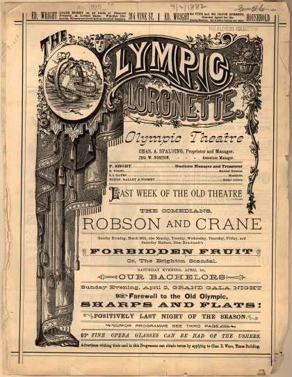 Olympic Theater's The Comedians, Robson and Crane – The Olympic Lorgnette (1882)