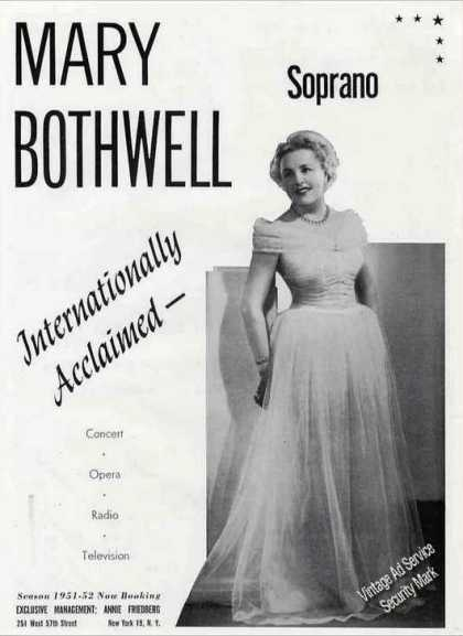 Mary Bothwell Photo Concert Opera Radio Tv (1951)