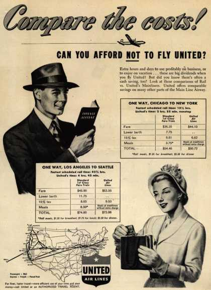 United Air Lines – Compare the costs! Can You Afford NOT To Fly United? (1949)