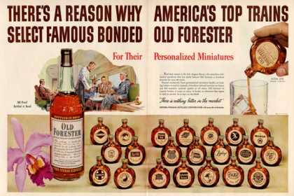 Old Forester Whiskytrain 21 Theme Mini Flasks (1950)