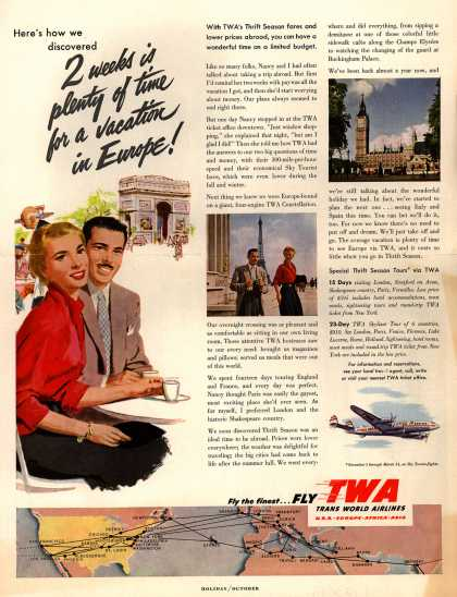 Trans World Airlines – 2 weeks is plenty of time for a vacation in Europe (1953)