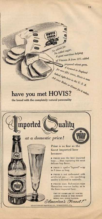 Prior Imported Beer Bottle Hovis Bread (1950)