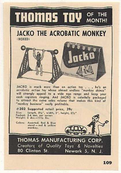 Thomas Toy Jacko Acrobatic Monkey (1951)