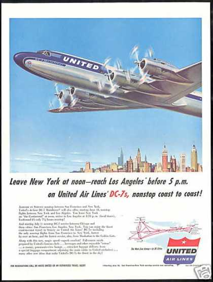 United Airlines DC-7 DC7 Mainliner Airplane (1954)