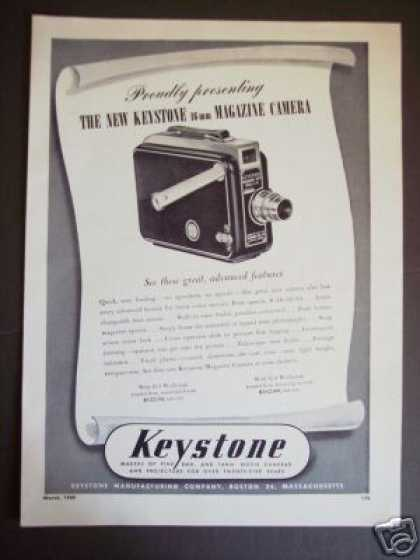 Keystone 16mm Magazine Loading Movie Camera (1949)