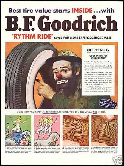 Emmett Kelly Circus Clown BF Goodrich Tire (1950)