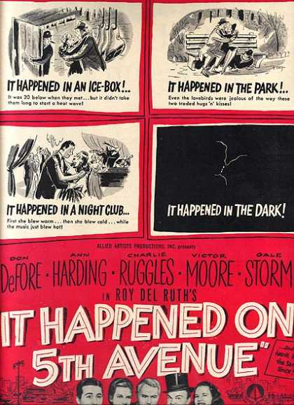 It Happened On 5th Avenue (Don DeFore, Ann Harding, Charles Ruggles, Victor Moore and Gale Storm) (1947)