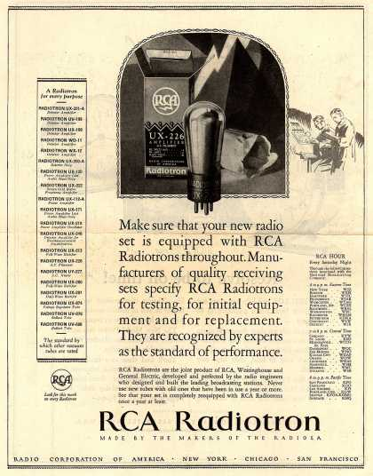 Radio Corporation of America's Radio Tubes – Make sure that your new radio set is equipped with RCA Radiotrons throughout... (1928)