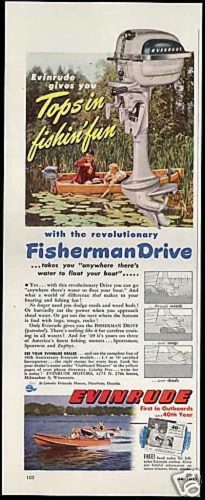 Evinrude Fisherman Drive Outboard Boat Motor (1949)