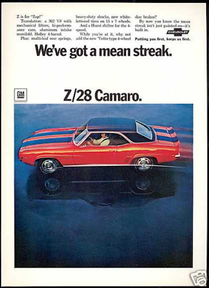 Chevrolet Z/28 Z28 Camaro Car Photo (1969)