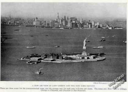 Lady Liberty New York Skyline Antique Print Photo (1926)