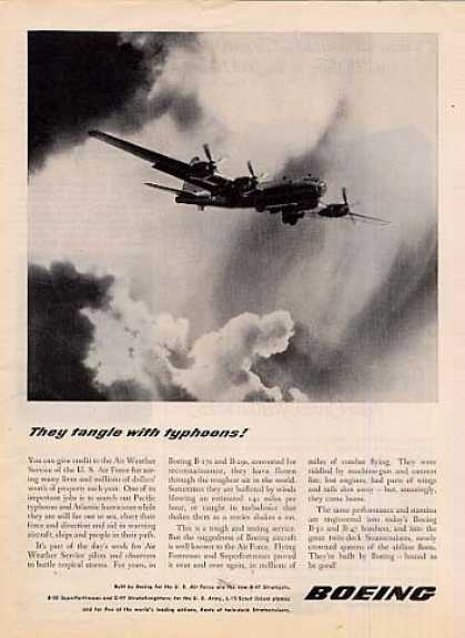 "Boeing Aircraft Ad ""They Tangle With Typhoons... (1950)"