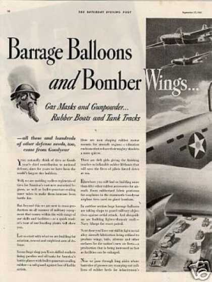 "Goodyear Tire 2 Page Ad ""Barrage Balloons And... (1941)"