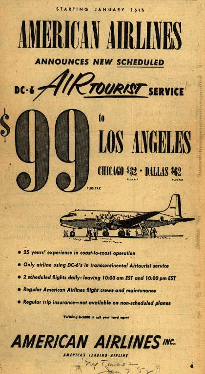 American Airline's DC-6 Service – American Airlines Announces New Scheduled DC-6 Air Tourist Service (1952)