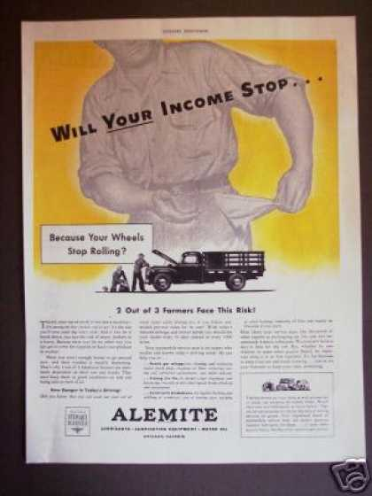 Wartime Farmer Farm Truck Alemite Motor Oil (1943)